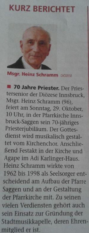 Ehrenmitglied Altpfarrer Msgr. Heinz Schramm feiert 70-jähriges Priesterjubiläum